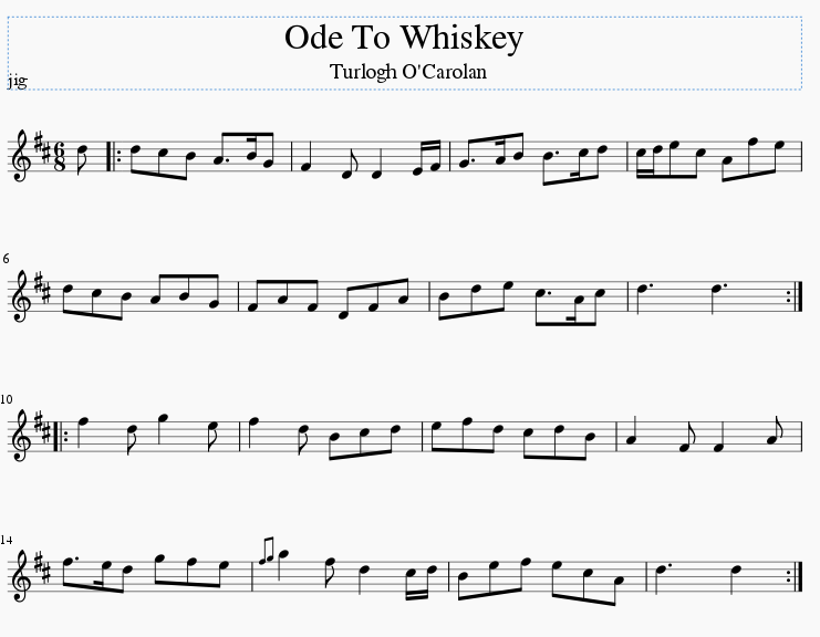 Ode to whiskey sheet